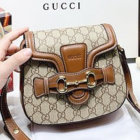 Vsgirlss GUCCI Fashion New More Letter Leather Shopping Leisure Shoulder Bag Crossbody Bag Saddle Bag