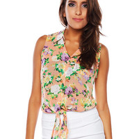 Papaya Clothing Online :: TIE FRONT FLORAL BLOUSE