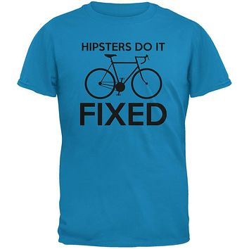 Hipsters Do It Fixed Sapphire Blue Adult T-Shirt