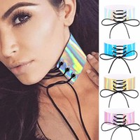 1Pc Lace Up Choker Necklaces For Women Holographic Choker Gothic Wide Chocker Corset PU Leather Necklaces Jewelry #240985