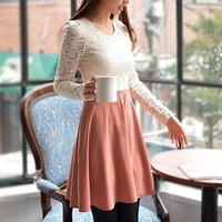 2014 arrival women's favorite Pleated Lace Dresses Ladies O-Neck long Sleeve Slim spring one-piece Dress S-L size 2colors 0914 = 1958436100