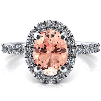Talia Oval Champagne Sapphire 4 Prong Halo 5/8 Micropave Engagement Ring