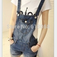 New 2016 Summer Women's Clothing Demin Shorts Loose Conjoined Overalls Girls Cute Denim Straps Plus Size Denim Overalls S~XXL