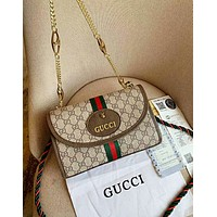 GUCCI Fashion Women Retro Metal Chain Leather Shoulder Bag Crossbody Satchel