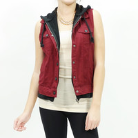 Hooded button up woven twill vest Burgundy