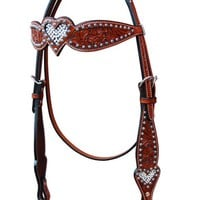Crystal Inlay Heart Browband Headstall by Bar H Equine
