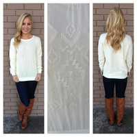 Aztec Embroidered Ivory Sweater Top