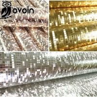 Mini mosaic Luxury glitter wallpaper background wall shiny gold foil wallpaper silver ceiling wall paper wallcovering WP038