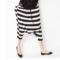Fashion Women Drop Crotch Baggy Pants Capris Cropped Harem Pants Trousers
