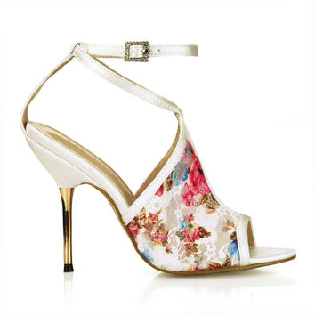 women printed flowers summer high heels cross-strap buckle elegant cool boots sexy metal stiletto heeled pumps open toe shoes