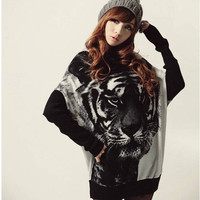 Attractive Tiger Print Batwing Sleeve Knitted Tops Pullover Sweater Jumper = 1695596612