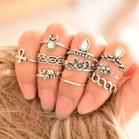 10pcs/Set Vintage Ring Set Unique Carved Antique