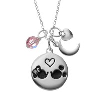 Disney's Minnie & Mickey Mouse Sterling Silver Charm Pendant Necklace - Made with Swarovski Elements (Pink)