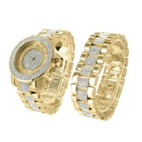 Bling Master Watch Bracelet Set Techno Pave Lab Diamond