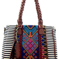 off and away {striped} aztec bag