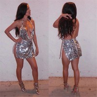 Dior Sequin Halter Slit Backless Dress