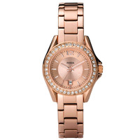 Fossil ES2889 Women's Riley Mini Swarovski Crystals Accents Bezel Rose Gold Tone Stainless Steel Watch