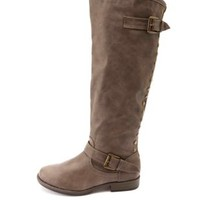 Bamboo Studded Back-Zipper Knee-High Riding Boots - Taupe