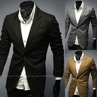 Two Button Slim Fit Men Blazer Jacket