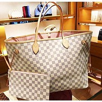 LV Tide brand female classic old flower checkerboard shopping bag two-piece White check