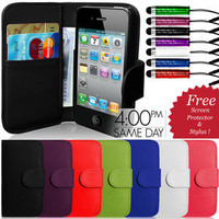 FLIP WALLET LEATHER CASE COVER & SCREEN PROTECTOR & STYLUS FOR APPLE IPHONE 4 4S