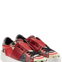 Valentino - Mixed Print Leather Sneakers