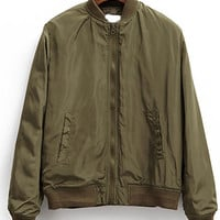 Army Green Stand Collar Zip-Up Jacket