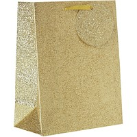 Medium Gift Bags, Gold Glitter (30 Pieces)