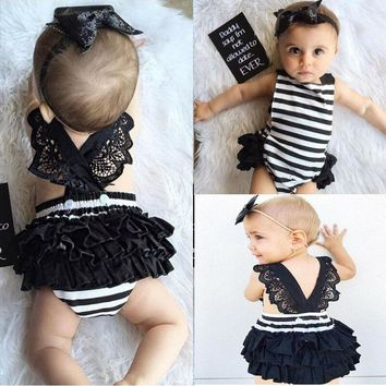 Newborn Baby Girls Lace Striped Jumpsuit Romper Playsuit + Headband Outfits Set