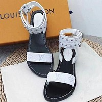 LV Louis Vuitton Hot Sale Classic Ladies Printed Letter Flat Sandals Shoes White