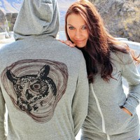 Owl Hoodie - Organic Cotton Unisex Zip Sweatshirt MEDIUM | revivalink - Clothing on ArtFire