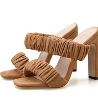 Hot style pointed toe flip-flops with open toe square heel and high heel flip-flops shoes