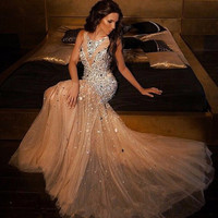 2017 New Arrival Sparkly Beaded Crystal Mermaid Prom Dresses Plus SIze Champagne Tulle Prom Gowns For Women Pageant Gowns Sexy