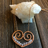 Heart Necklace, Rose Gold Filled, Moonstone