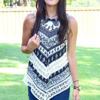 High Neck  Paisley + Lace Handkerchief Tank {Black Mix}