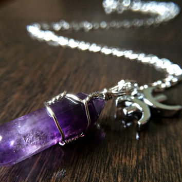 Zodiac Crystal Necklace Amethyst February Birthday Gift Gypsy Jewelry Galaxy Jewellery Leo Cancer Pisces Aries Moon Charm necklaces