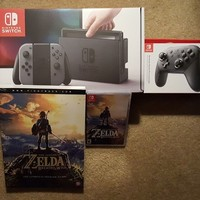 Nintendo Switch Gray Breath Of The Wild Zelda Game & Guide Bundle Pro Controller