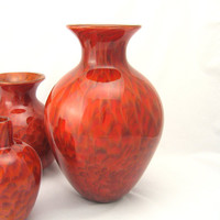 Flower Vase Blown Glass Fall Home Decor harvest rust brick red brown contemporary art tagt