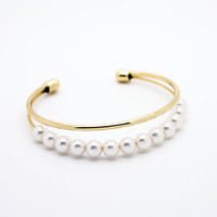 Pearl bar bangle bracelet