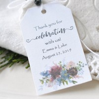 Personalized Wedding Favor Hang Tags Wedding Gift Tags Navy Burgundy Dusty Blue Pink & Cream