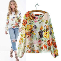 Women's Fashion Print Long Sleeve Slim Chiffon Tops Shirt [5013335620]