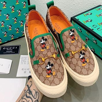 Gucci Shoes launches new Mickey series Gold buckle decoration Green
