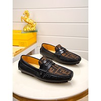 Fendi Men's Leather Fashion Low Top Loafers Shoes