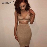 Articat Sexy Shiny Bandage Bodycon Dresses 2017 Summer Lace Up Two Piece Party Dresses Deep V Neck Skinny Club Outfits Vestidos