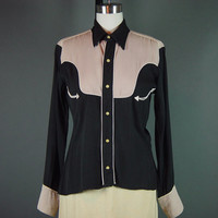 Vintage 50s H Bar C Western Snap Shirt Blouse Gabardine Womens Cowgirl Rodeo Queen 2 Tone S