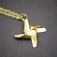 Pinwheel Necklace in GOLD  Good Luck by SilverLotusDesigns on Etsy