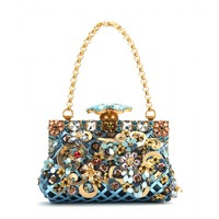 dolce & gabbana - vanda embellished metallic leather clutch