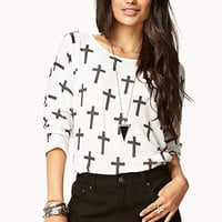 FOREVER 21 Cross Pattern Dolman Top Cream/Charcoal