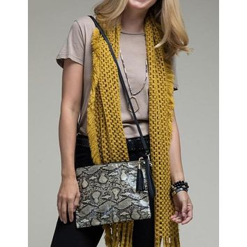 Faux snake skin Crossbody bag shoulder bag clutch