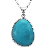 """Sterling Silver Turquoise Sliver Pendant Necklace, 18"""""""